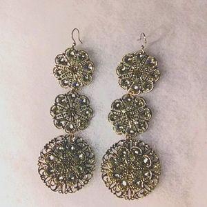 💎Silver Tone & Rhinestone 3 Tier Dangle Earrings